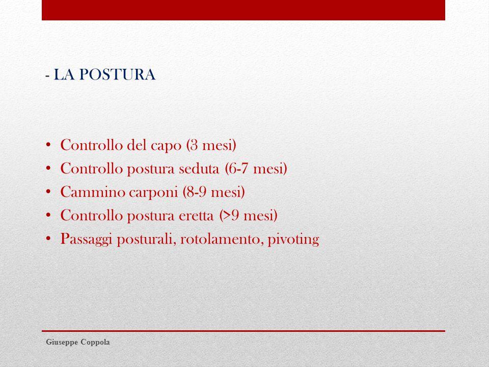 - LA POSTURA Controllo del capo (3 mesi) Controllo postura seduta (6-7 mesi) Cammino carponi (8-9 mesi) Controllo postura eretta (>9 mesi) Passaggi posturali, rotolamento, pivoting Giuseppe Coppola