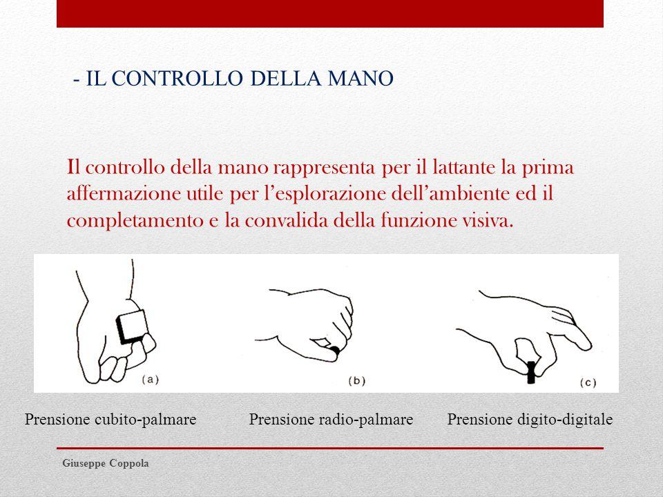 Giuseppe Coppola Il controllo della mano rappresenta per il lattante la prima affermazione utile per l'esplorazione dell'ambiente ed il completamento e la convalida della funzione visiva.