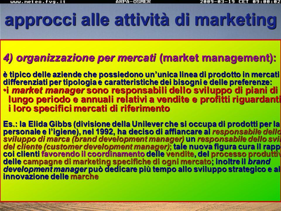 approcci alle attività di marketing 3) organizzazione per prodotti (product management) o per marche (brand management): è tipico delle aziende che po