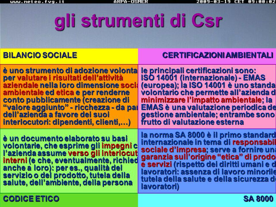 le P.M.I. e gli strumenti della responsabilità sociale d'impresa (Rsi): Csr (Corporate social responsibility) fonte: ricerca Camera di Commercio di Mi