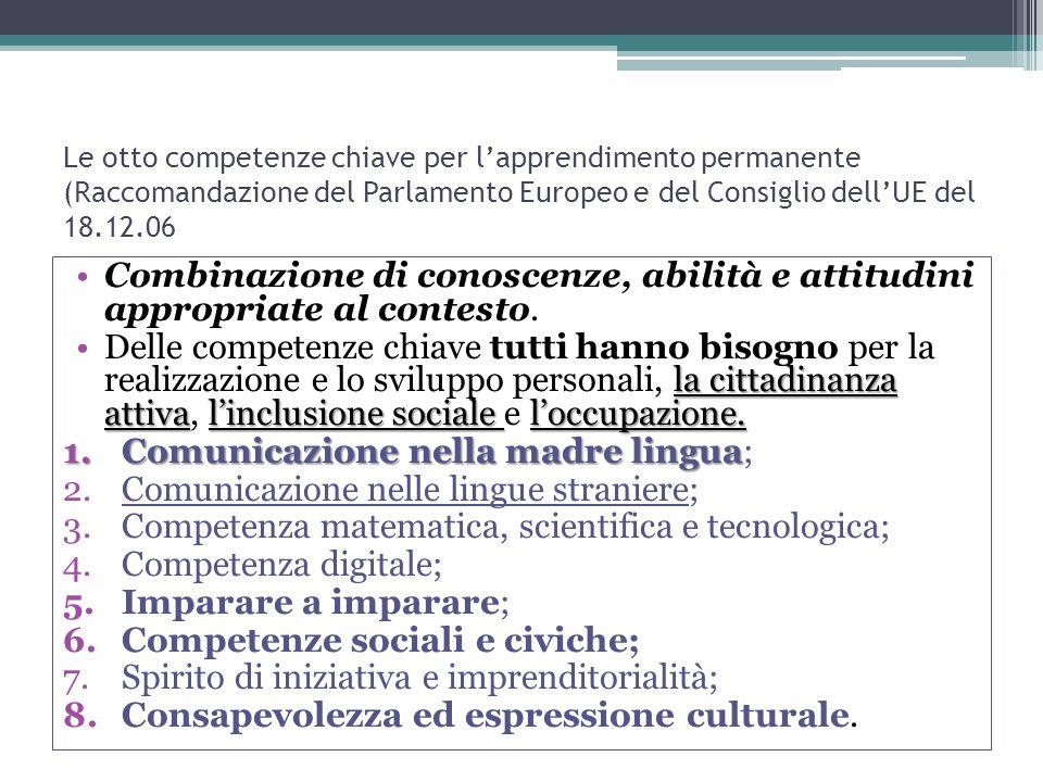 Le otto competenze chiave per l'apprendimento permanente (Raccomandazione del Parlamento Europeo e del Consiglio dell'UE del 18.12.06 Combinazione di