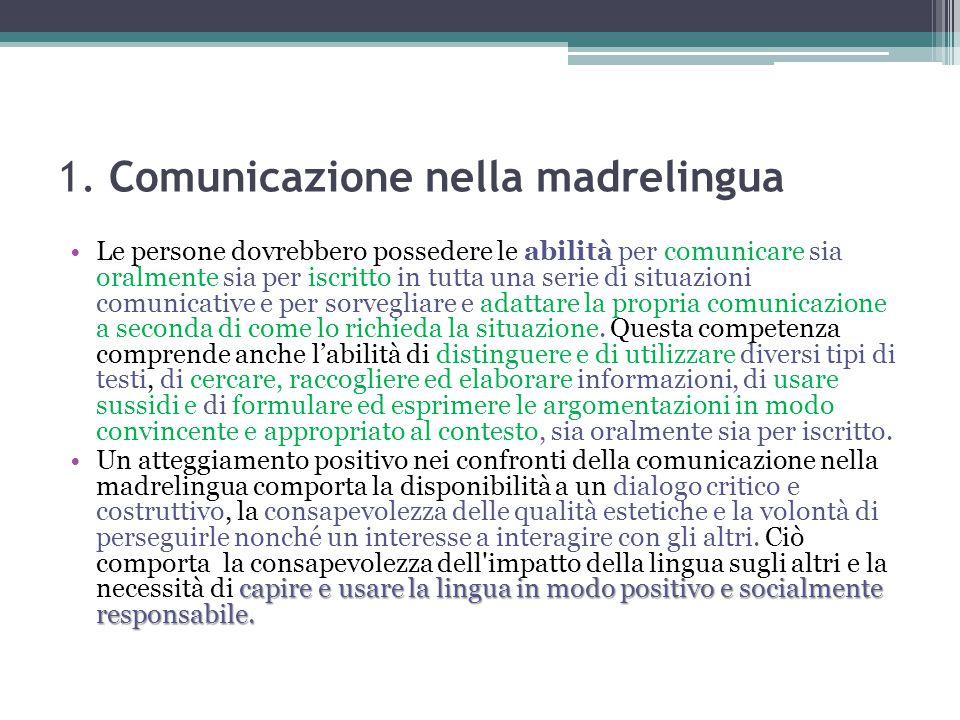 1. Comunicazione nella madrelingua Le persone dovrebbero possedere le abilità per comunicare sia oralmente sia per iscritto in tutta una serie di situ