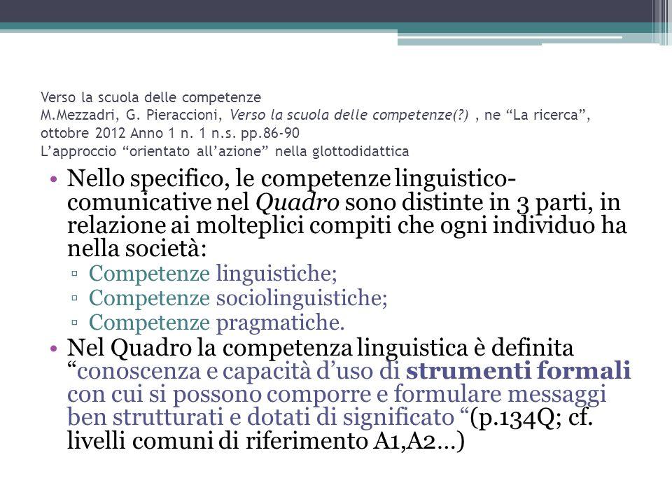 """Verso la scuola delle competenze M.Mezzadri, G. Pieraccioni, Verso la scuola delle competenze(?), ne """"La ricerca"""", ottobre 2012 Anno 1 n. 1 n.s. pp.86"""