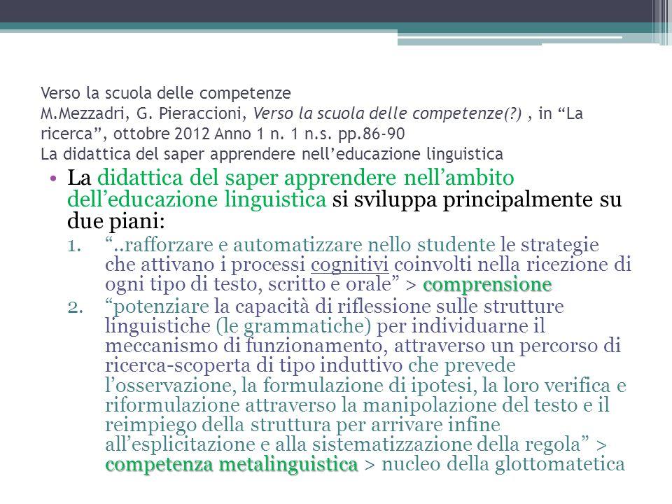 """Verso la scuola delle competenze M.Mezzadri, G. Pieraccioni, Verso la scuola delle competenze(?), in """"La ricerca"""", ottobre 2012 Anno 1 n. 1 n.s. pp.86"""