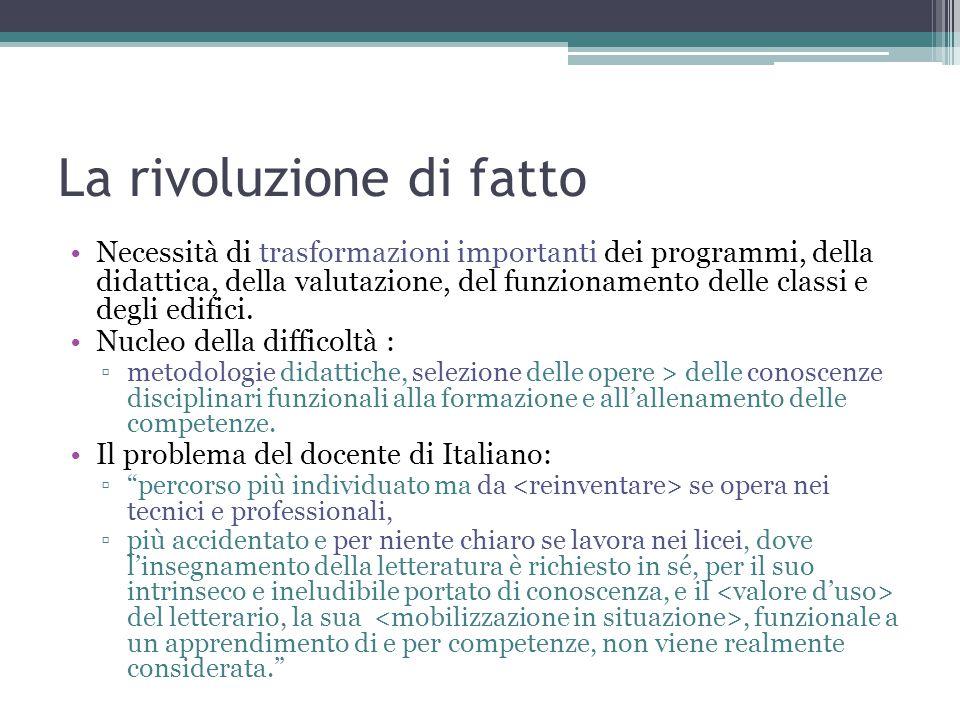 La rivoluzione di fatto Necessità di trasformazioni importanti dei programmi, della didattica, della valutazione, del funzionamento delle classi e deg