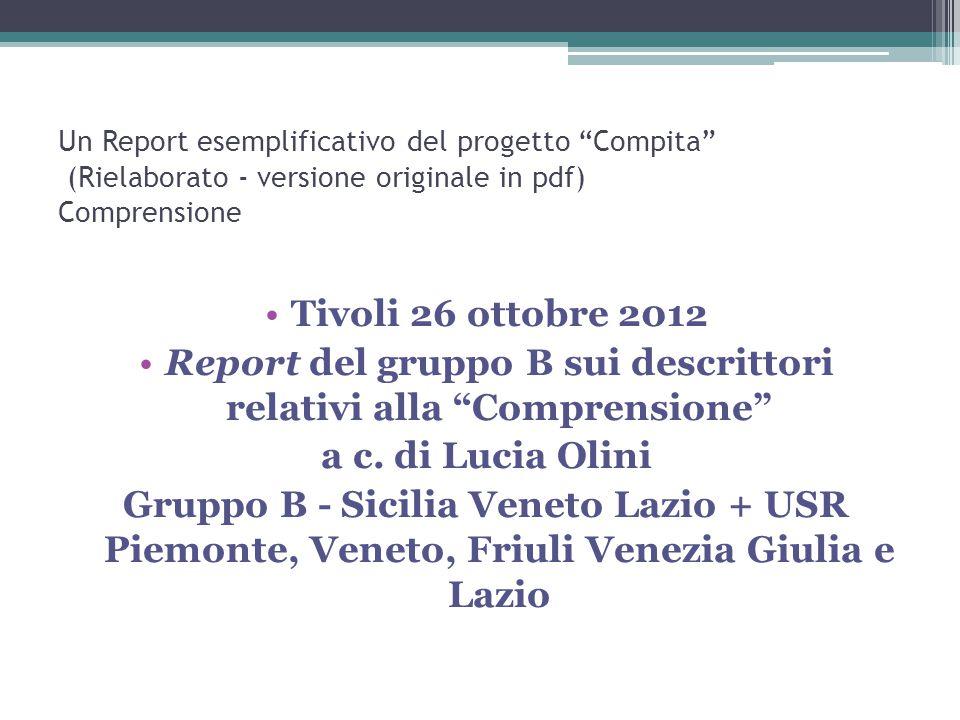 """Un Report esemplificativo del progetto """"Compita"""" (Rielaborato - versione originale in pdf) Comprensione Tivoli 26 ottobre 2012 Report del gruppo B sui"""