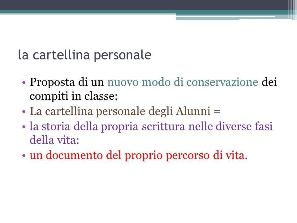 la cartellina personale Proposta di un nuovo modo di conservazione dei compiti in classe: La cartellina personale degli Alunni = la storia della propr