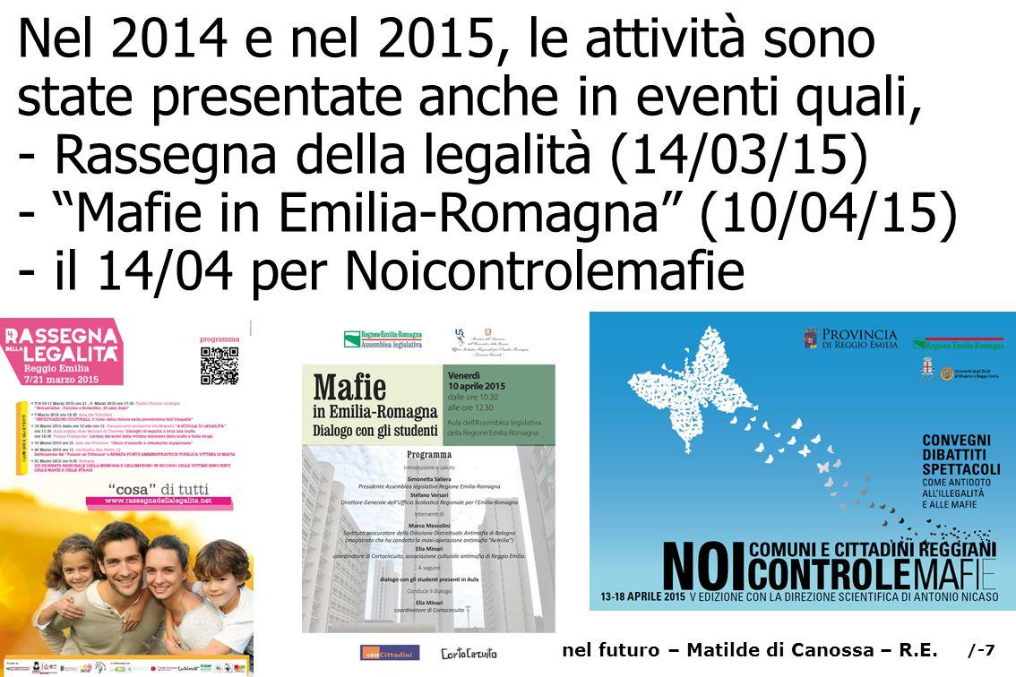 /-8 Radici nel Futuro – Matilde di Canossa – Reggio Emilia Capita che, per gli esercizi , di Radici nel Futuro, una di noi scriva: