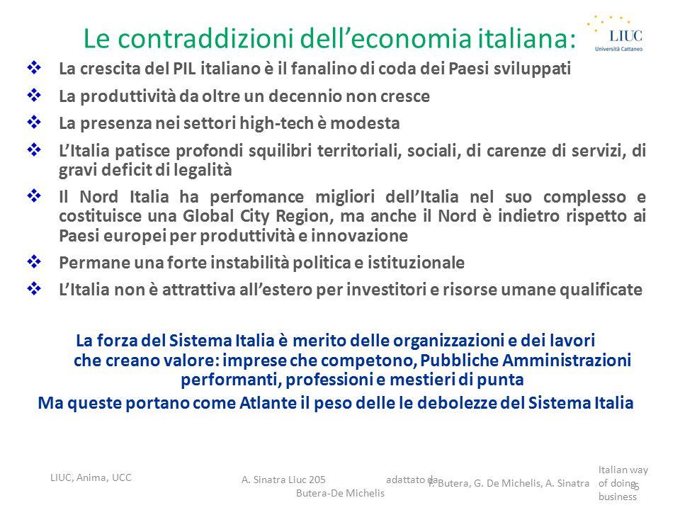 Le contraddizioni dell'economia italiana:  La crescita del PIL italiano è il fanalino di coda dei Paesi sviluppati  La produttività da oltre un dece