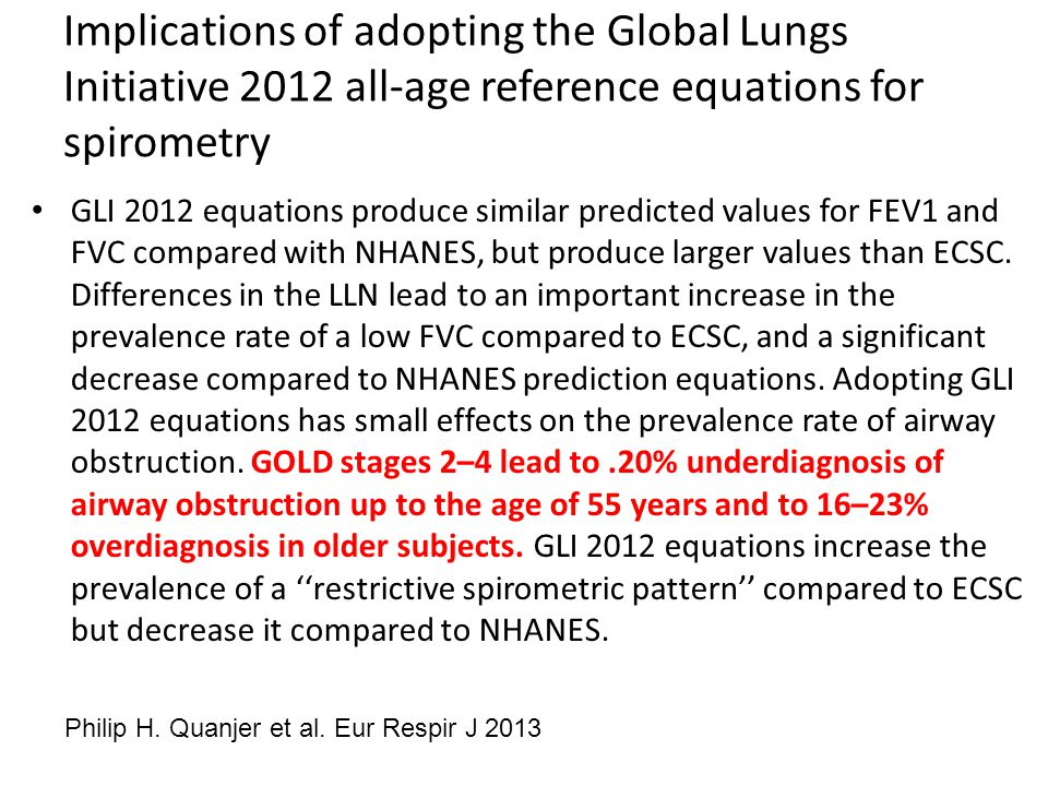 Implications of adopting the Global Lungs Initiative 2012 all-age reference equations for spirometry GLI 2012 equations produce similar predicted values for FEV1 and FVC compared with NHANES, but produce larger values than ECSC.