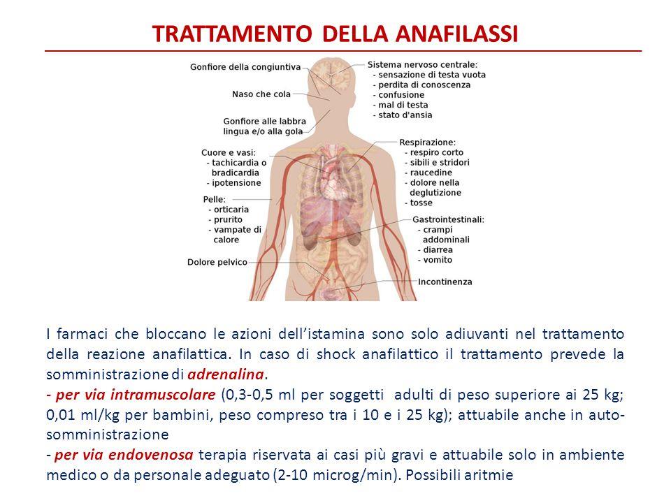TRATTAMENTO DELLA ANAFILASSI I farmaci che bloccano le azioni dell'istamina sono solo adiuvanti nel trattamento della reazione anafilattica. In caso d