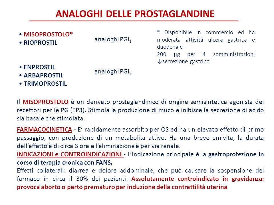 ANALOGHI DELLE PROSTAGLANDINE MISOPROSTOLO* RIOPROSTIL ENPROSTIL ARBAPROSTIL TRIMOPROSTIL analoghi PGI 1 analoghi PGI 2 * Disponibile in commercio ed