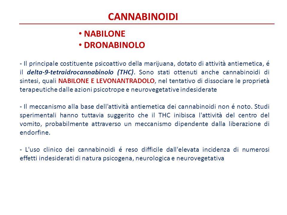 CANNABINOIDI NABILONE DRONABINOLO - Il principale costituente psicoattivo della marijuana, dotato di attività antiemetica, é il delta-9-tetraidrocanna