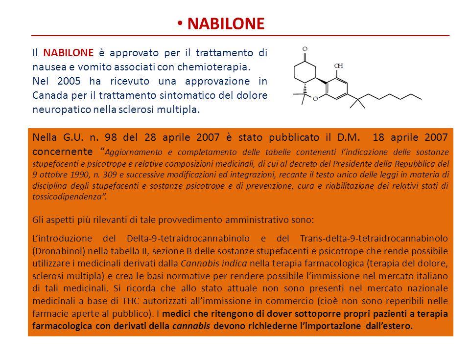 NABILONE Il NABILONE è approvato per il trattamento di nausea e vomito associati con chemioterapia. Nel 2005 ha ricevuto una approvazione in Canada pe