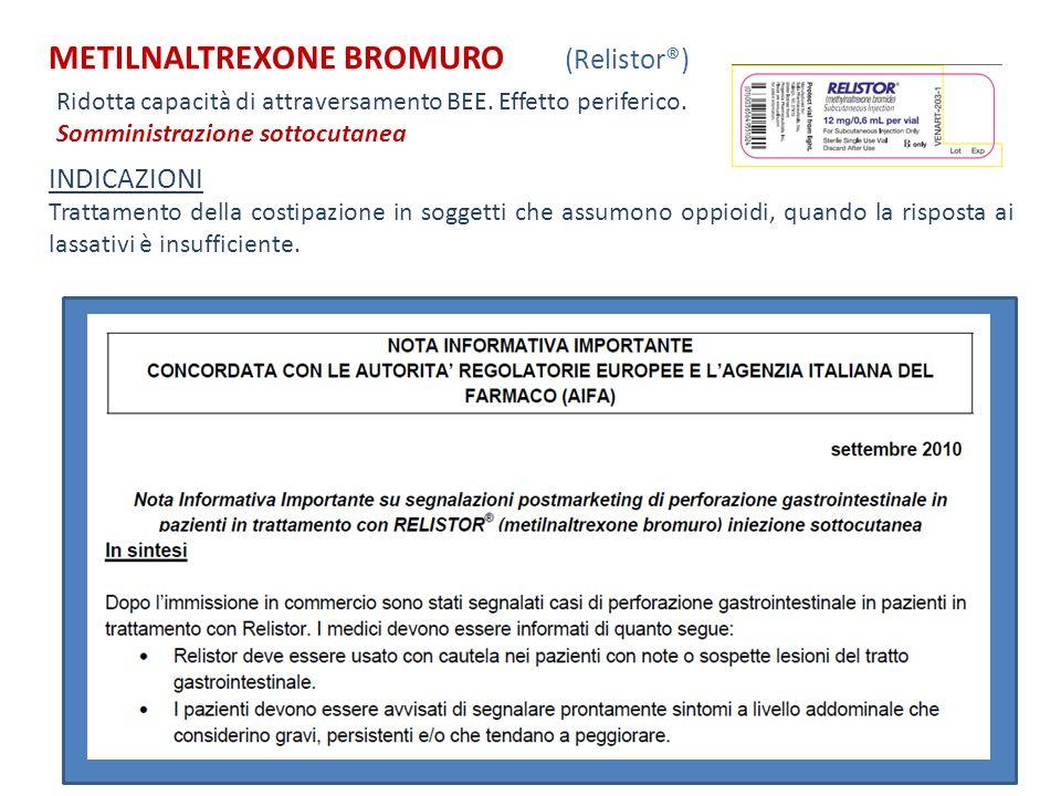 METILNALTREXONE BROMURO (Relistor®) INDICAZIONI Trattamento della costipazione in soggetti che assumono oppioidi, quando la risposta ai lassativi è in