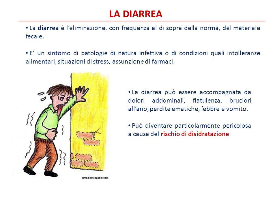 LA DIARREA La diarrea è l'eliminazione, con frequenza al di sopra della norma, del materiale fecale. E' un sintomo di patologie di natura infettiva o