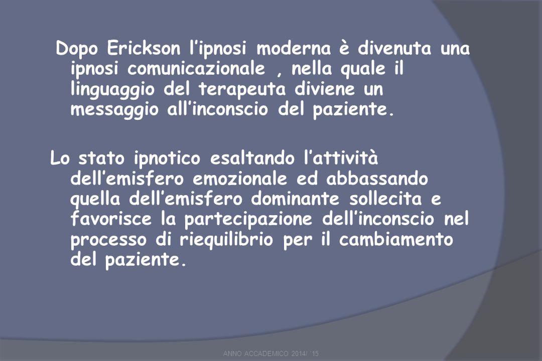 Dopo Erickson l'ipnosi moderna è divenuta una ipnosi comunicazionale, nella quale il linguaggio del terapeuta diviene un messaggio all'inconscio del paziente.