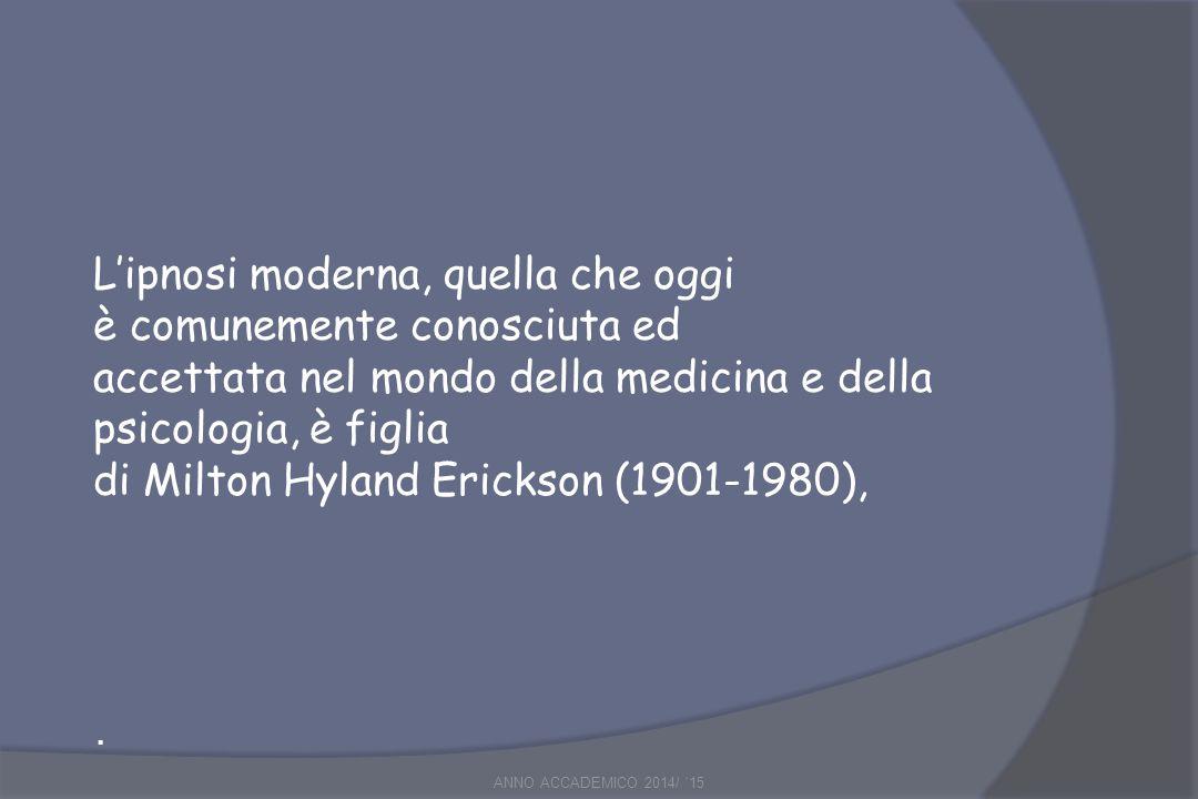 Milton Erickson I suoi concetti hanno rivoluzionato le vecchie idee basate su metodi suggestivi, diretti e autoritari, definendo i principi teorici e pratici dell' ipnosi attuale, o trance, che hanno trovato il loro ulteriore sviluppo nel modello italiano detto neo-ericksoniano .
