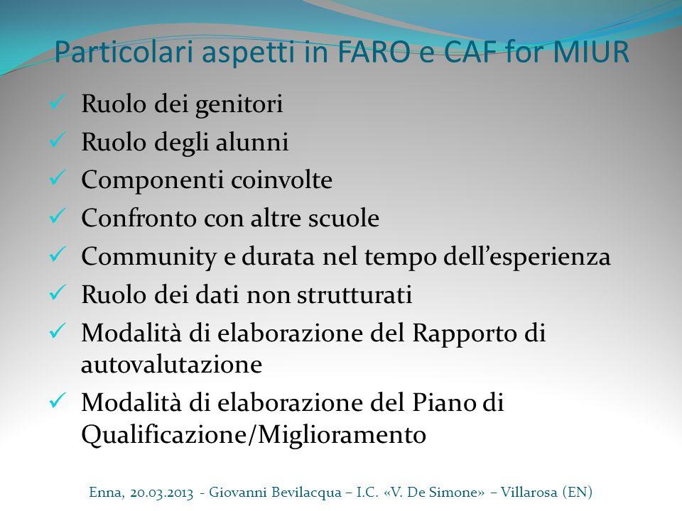 Particolari aspetti in FARO e CAF for MIUR Ruolo dei genitori Ruolo degli alunni Componenti coinvolte Confronto con altre scuole Community e durata ne