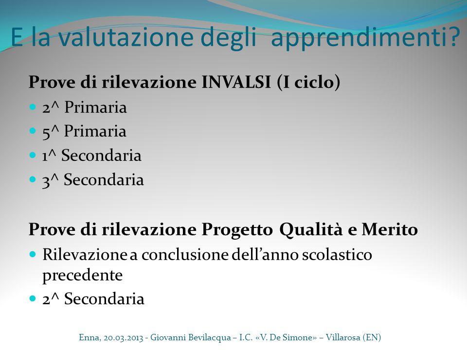 E la valutazione degli apprendimenti? Prove di rilevazione INVALSI (I ciclo) 2^ Primaria 5^ Primaria 1^ Secondaria 3^ Secondaria Prove di rilevazione