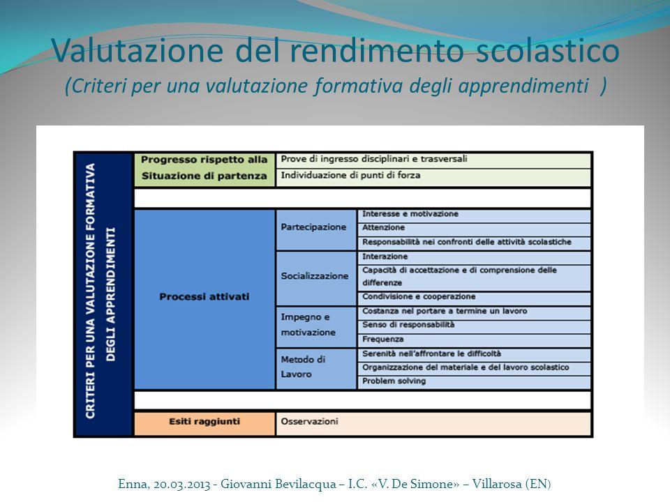 Valutazione del rendimento scolastico (Criteri per una valutazione formativa degli apprendimenti) Progresso rispetto alla Situazione di partenza Prove