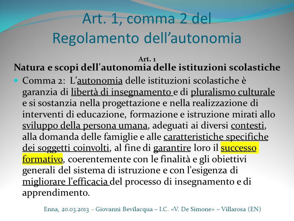 Art. 1, comma 2 del Regolamento dell'autonomia Art. 1 Natura e scopi dell'autonomia delle istituzioni scolastiche Comma 2: L'autonomia delle istituzio