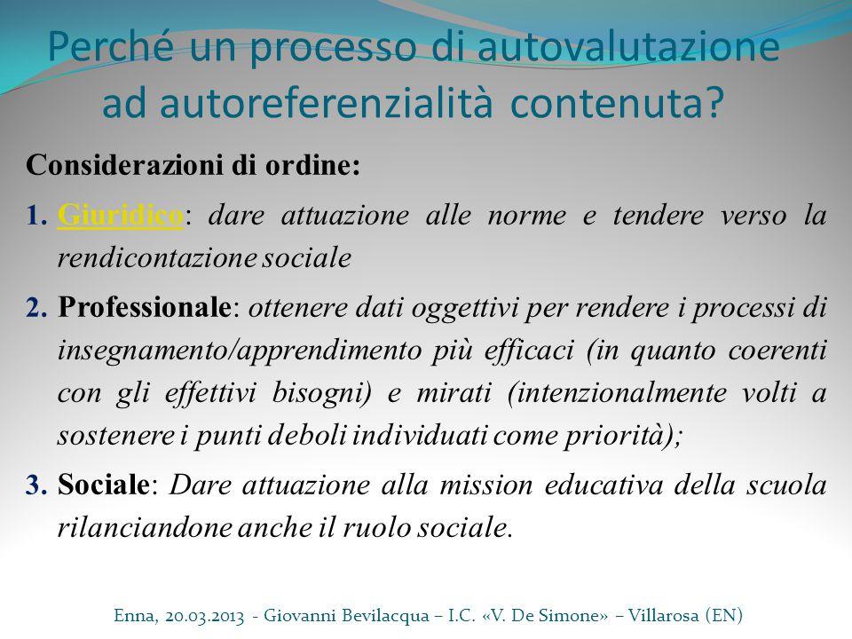 Perché un processo di autovalutazione ad autoreferenzialità contenuta? Considerazioni di ordine: 1. Giuridico: dare attuazione alle norme e tendere ve