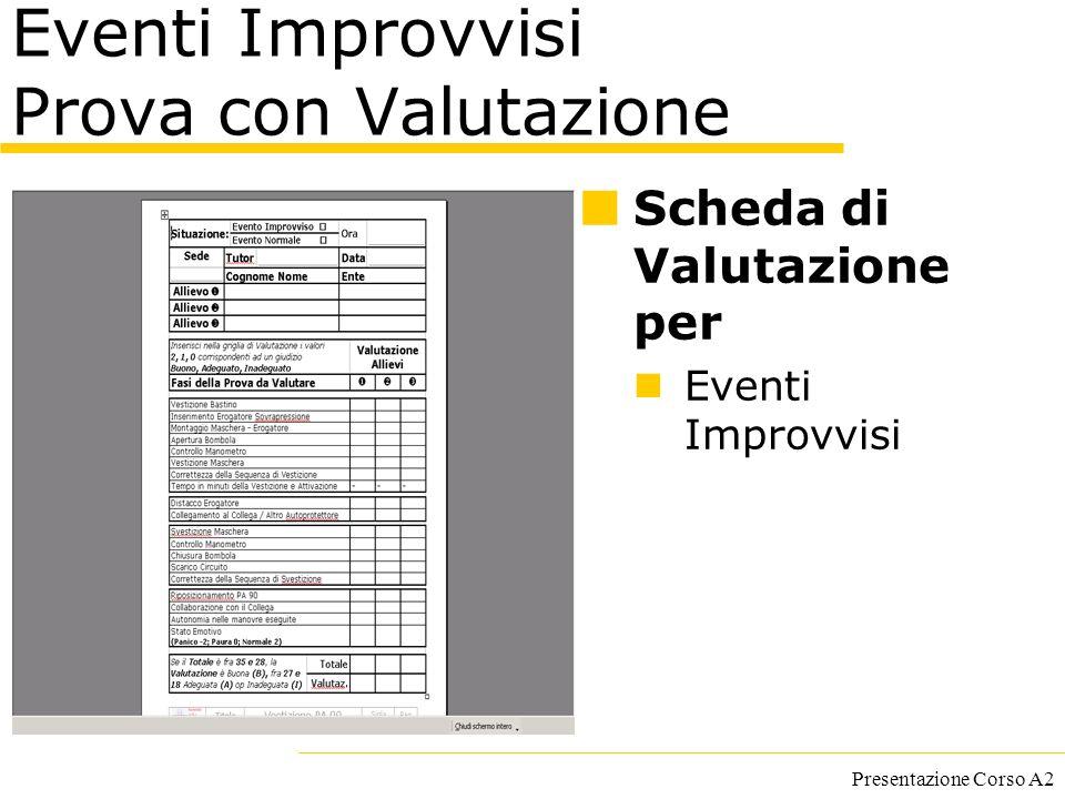 Presentazione Corso A2 Eventi Improvvisi Prova con Valutazione Scheda di Valutazione per Eventi Improvvisi