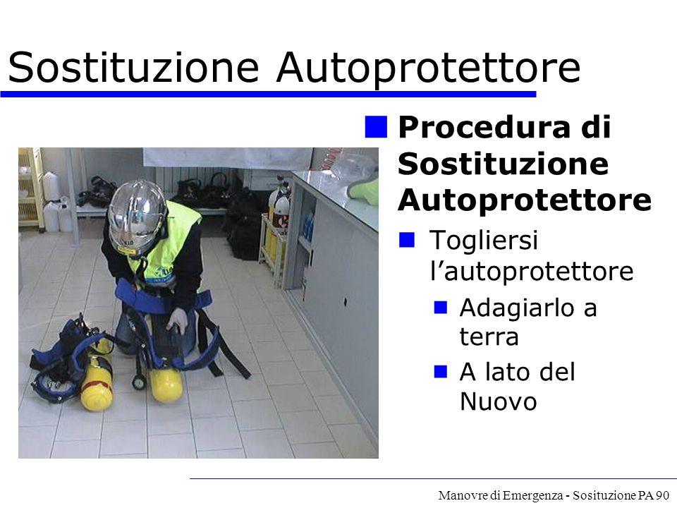 Manovre di Emergenza - Sosituzione PA 90 Procedura di Sostituzione Autoprotettore Togliersi l'autoprotettore  Adagiarlo a terra  A lato del Nuovo So