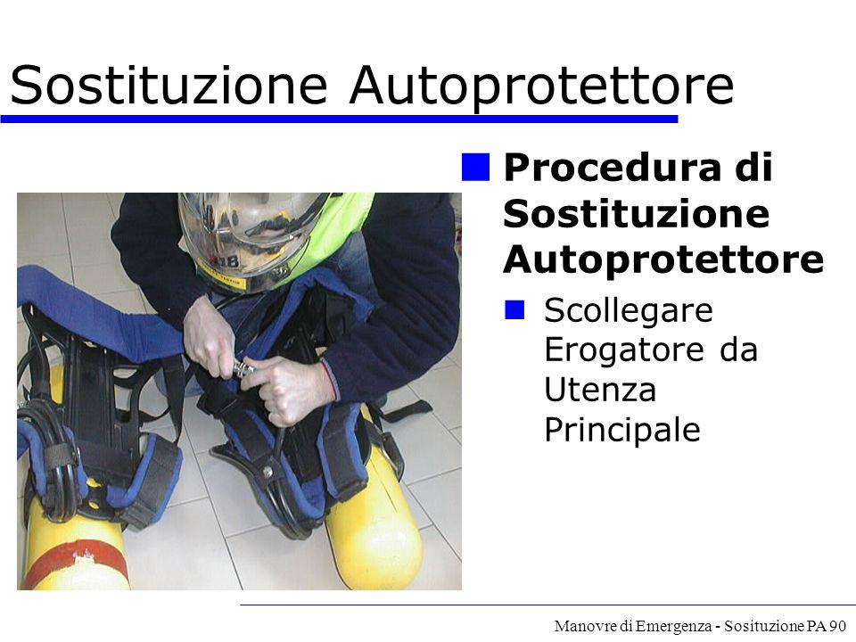 Manovre di Emergenza - Sosituzione PA 90 Procedura di Sostituzione Autoprotettore Scollegare Erogatore da Utenza Principale Sostituzione Autoprotettor