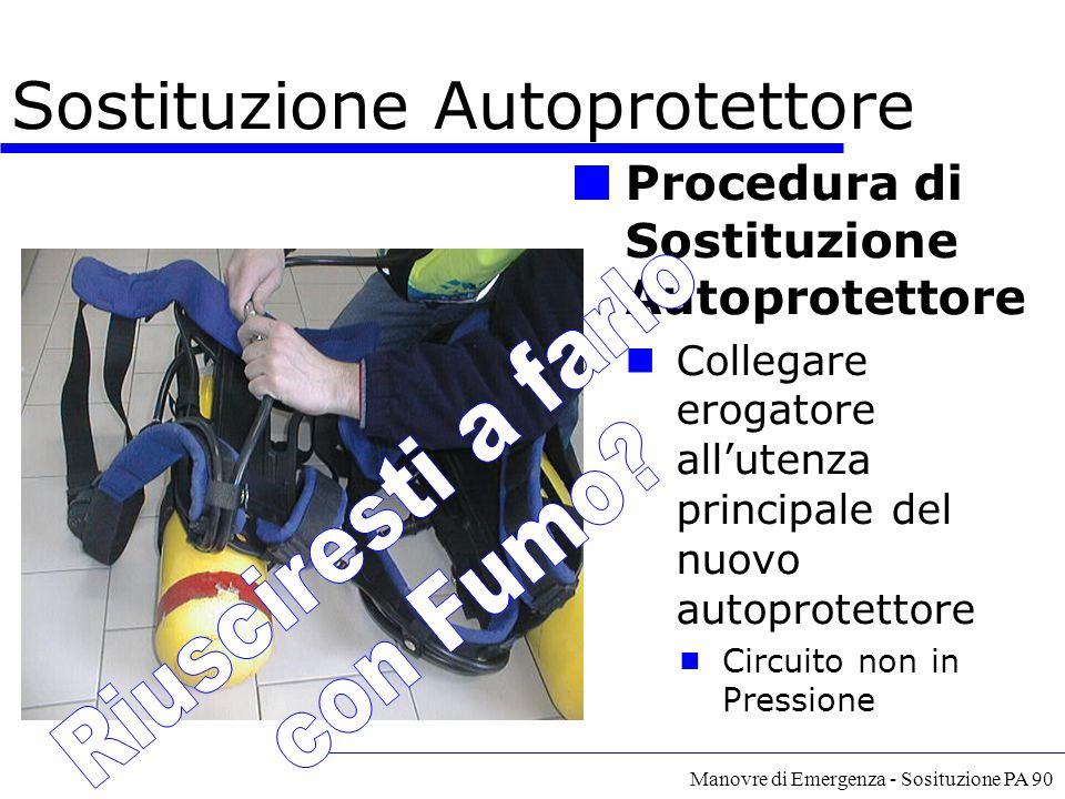 Manovre di Emergenza - Sosituzione PA 90 Procedura di Sostituzione Autoprotettore Collegare erogatore all'utenza principale del nuovo autoprotettore 