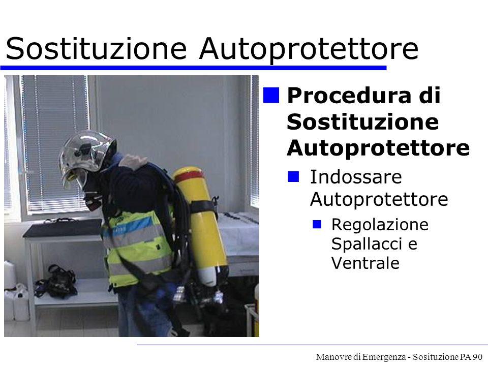 Manovre di Emergenza - Sosituzione PA 90 Procedura di Sostituzione Autoprotettore Indossare Autoprotettore  Regolazione Spallacci e Ventrale Sostituz