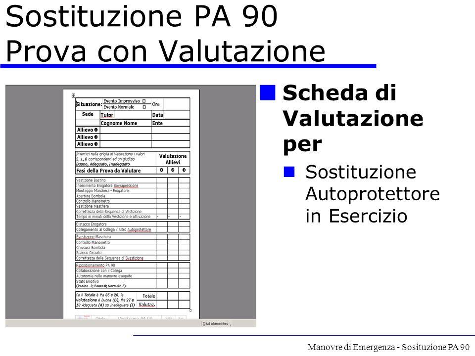 Manovre di Emergenza - Sosituzione PA 90 Sostituzione PA 90 Prova con Valutazione Scheda di Valutazione per Sostituzione Autoprotettore in Esercizio