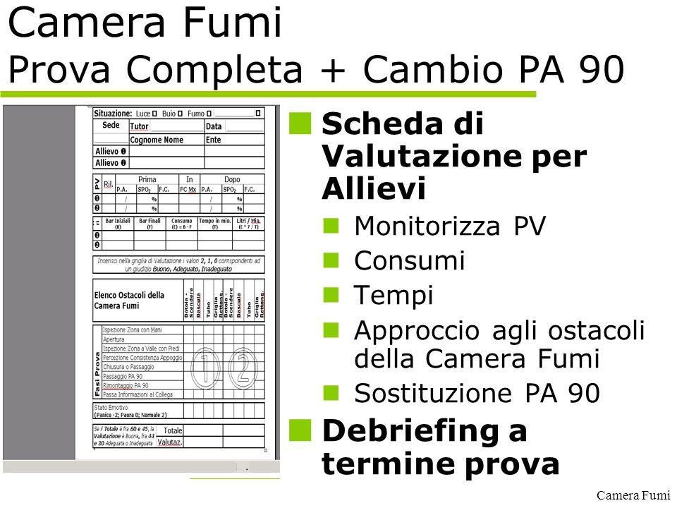 Camera Fumi Camera Fumi Prova Completa + Cambio PA 90 Scheda di Valutazione per Allievi Monitorizza PV Consumi Tempi Approccio agli ostacoli della Cam