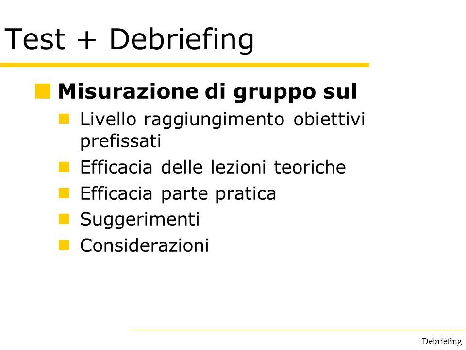 Debriefing Test + Debriefing Misurazione di gruppo sul Livello raggiungimento obiettivi prefissati Efficacia delle lezioni teoriche Efficacia parte pr