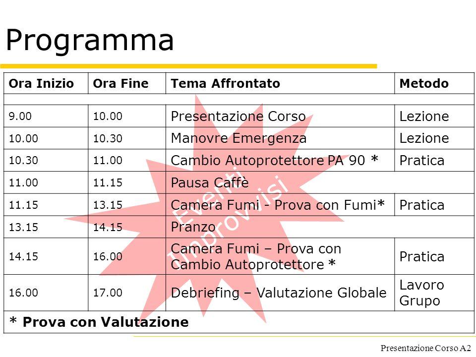 Presentazione Corso A2 Eventi Improvvisi Programma Ora InizioOra FineTema AffrontatoMetodo 9.0010.00 Presentazione CorsoLezione 10.0010.30 Manovre Eme