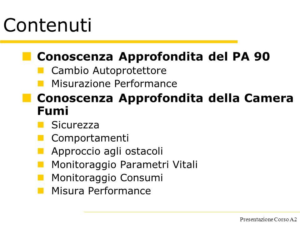 Presentazione Corso A2 Contenuti Conoscenza Approfondita del PA 90 Cambio Autoprotettore Misurazione Performance Conoscenza Approfondita della Camera