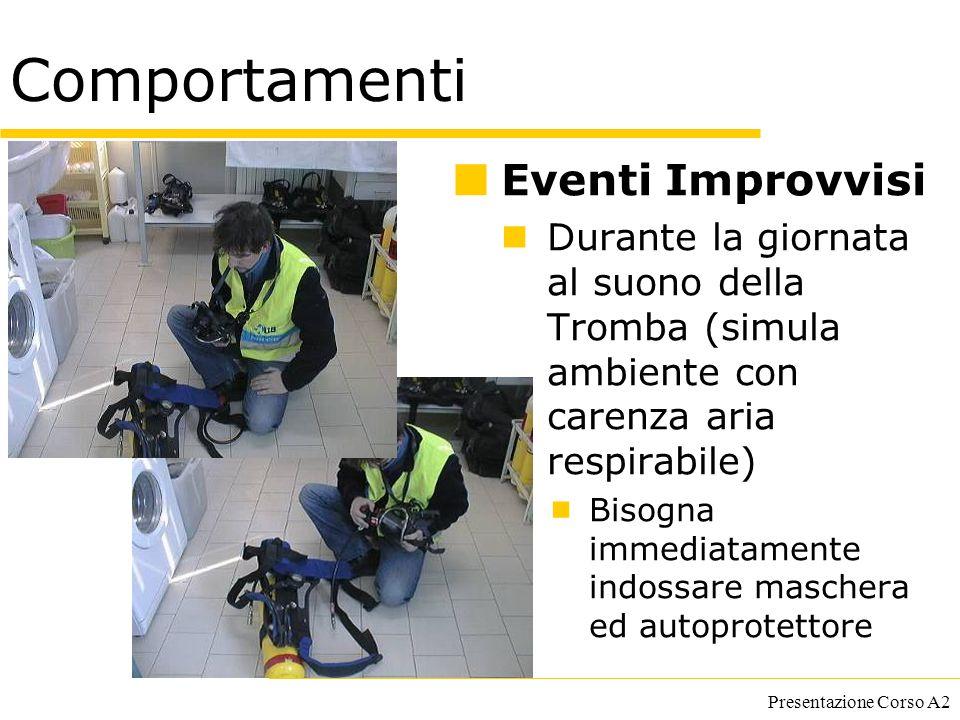 Presentazione Corso A2 Comportamenti Eventi Improvvisi Durante la giornata al suono della Tromba (simula ambiente con carenza aria respirabile)  Biso