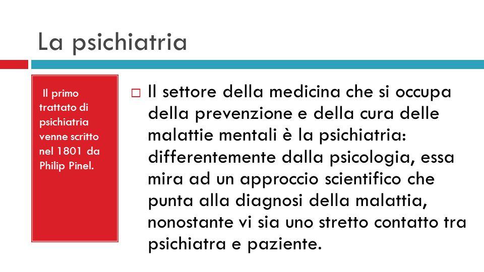  Il settore della medicina che si occupa della prevenzione e della cura delle malattie mentali è la psichiatria: differentemente dalla psicologia, essa mira ad un approccio scientifico che punta alla diagnosi della malattia, nonostante vi sia uno stretto contatto tra psichiatra e paziente.