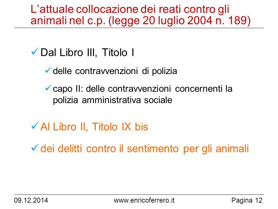 09.12.2014Pagina 12 www.enricoferrero.it L'attuale collocazione dei reati contro gli animali nel c.p.