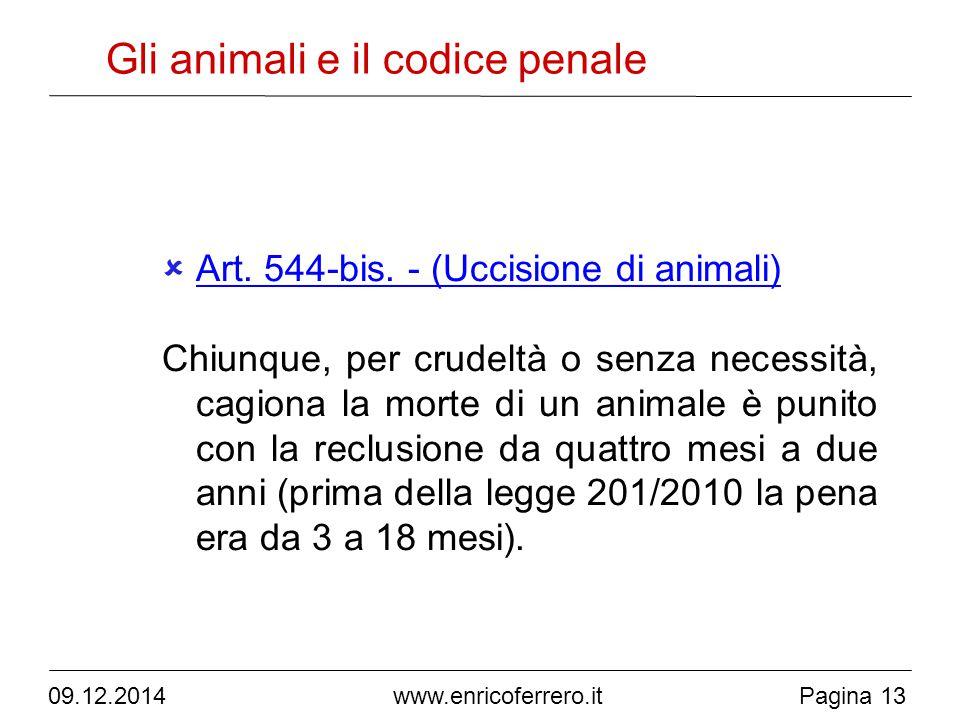 09.12.2014Pagina 13 www.enricoferrero.it Gli animali e il codice penale  Art.