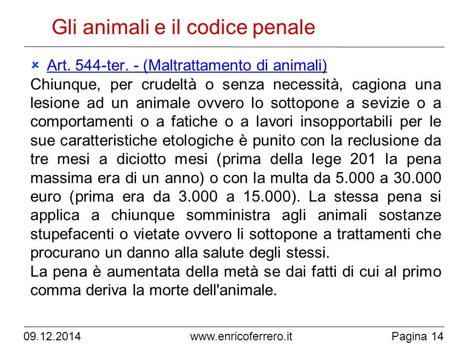 09.12.2014Pagina 14 www.enricoferrero.it Gli animali e il codice penale  Art.