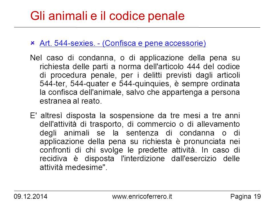 Pagina 19 www.enricoferrero.it Gli animali e il codice penale  Art.