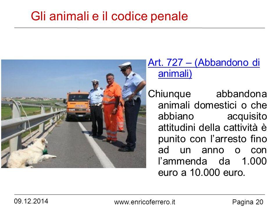 Pagina 20 www.enricoferrero.it Gli animali e il codice penale Art.