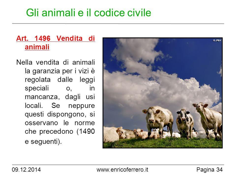 www.enricoferrero.it Gli animali e il codice civile Art.