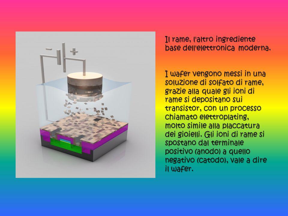 Il rame, l'altro ingrediente base dell'elettronica moderna. I wafer vengono messi in una soluzione di solfato di rame, grazie alla quale gli ioni di r