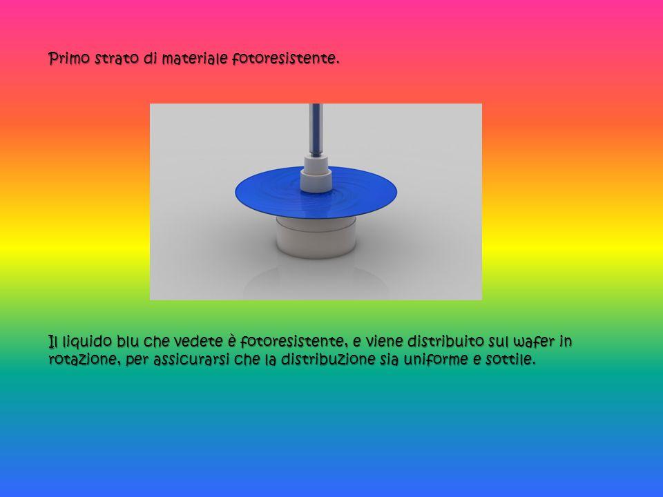 Primo strato di materiale fotoresistente. Il liquido blu che vedete è fotoresistente, e viene distribuito sul wafer in rotazione, per assicurarsi che