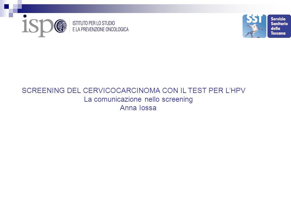 SCREENING DEL CERVICOCARCINOMA CON IL TEST PER L'HPV La comunicazione nello screening Anna Iossa