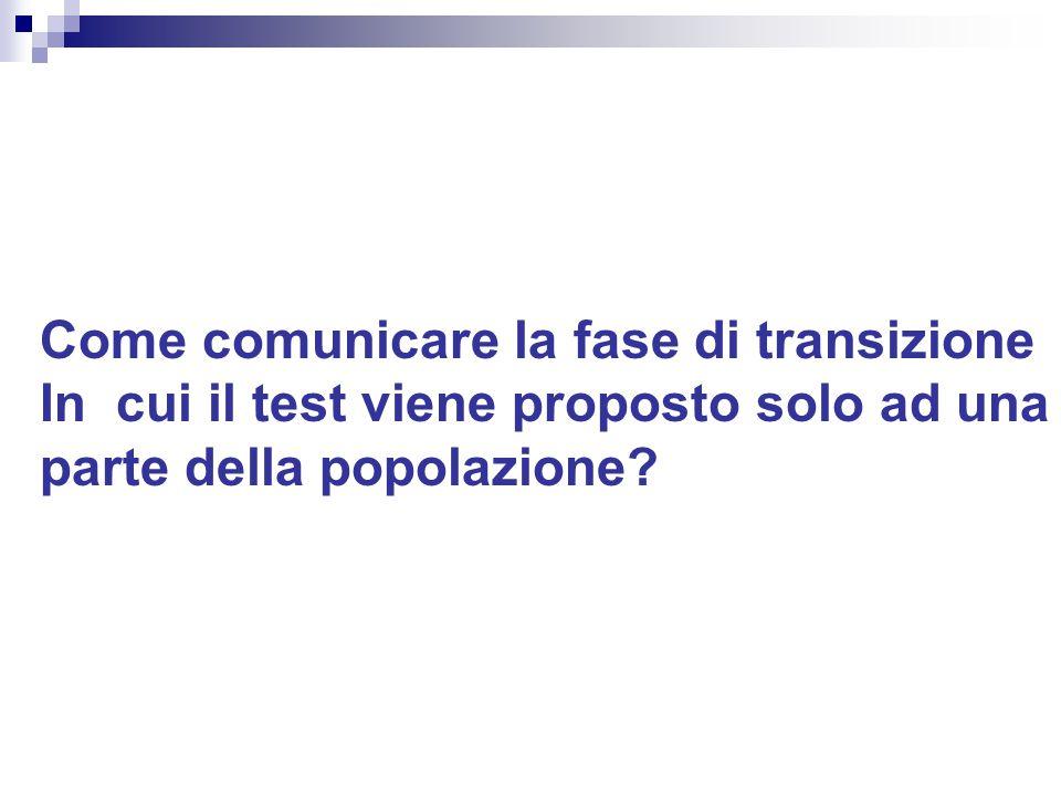Come comunicare la fase di transizione In cui il test viene proposto solo ad una parte della popolazione?