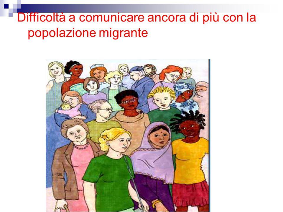 Difficoltà a comunicare ancora di più con la popolazione migrante